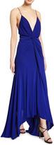 Galvan Knotted Deep-V Jersey Dress
