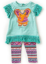 Rare Editions Baby Girls 3-24 Months Elephant-Applique Top & Printed Leggings Set