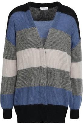 Brunello Cucinelli Metallic Striped Ribbed-knit Cardigan