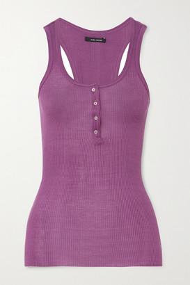 Isabel Marant Louisali Ribbed Silk-jersey Tank - Violet