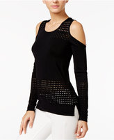 GUESS Casandra Perforated Cold-Shoulder Top