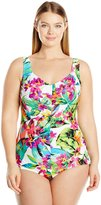 Maxine Of Hollywood Women's Plus Size Summer Bounty Shirred Girl Leg One Piece Swimsuit