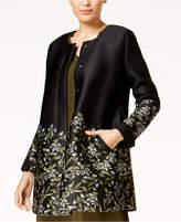 Alfani Petite Floral-Print Scuba Swing Jacket, Created for Macy's