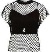 River Island Womens Black mesh bralette T-shirt