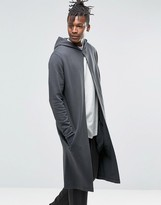 Asos Extreme Longline Hoodie With Front Split
