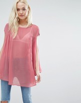 Glamorous Top With Pleated Side Detail