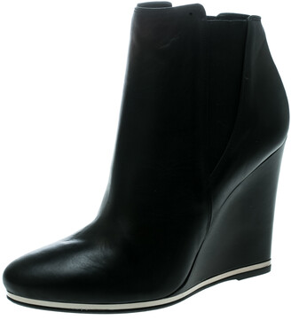 Le Silla Black Leather Wedge Ankle Boots Size 40