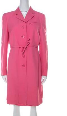 Versace Gianni Pink Silk Vintage Long Jacket & Skirt Suit M