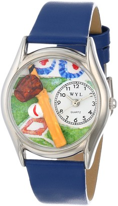 Whimsical Watches Baseball Royal Blue Leather and Silvertone Unisex Quartz Watch with White Dial Analogue Display and Multicolour Leather Strap S-0820004