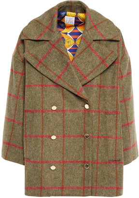 Stella Jean Double-breasted Checked Felt Coat