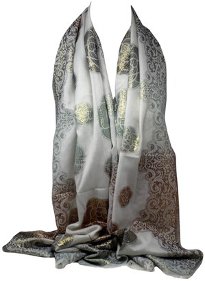 Bullahshah Foil Printed Off White Thin Soft Metal Thread Floral Print in Gold Copper Scarves Wrap Shawl Stole Head Scarf (Off White Copper Green 2)