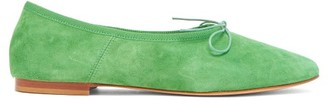 Mansur Gavriel Bow-embellished Suede Ballet Flats - Womens - Green