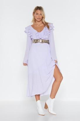 Nasty Gal Womens When the Going Gets Tough Ruffle Midi Dress - purple - 6
