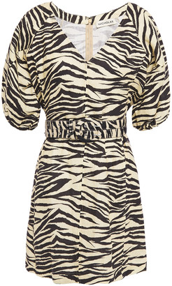 Nicholas Belted Zebra-print Linen Mini Dress