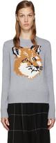 MAISON KITSUNÉ Grey Wool Fox Sweater