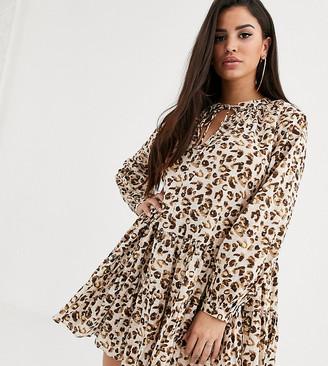 Asos DESIGN Petite tiered trapeze mini dress in leopard print
