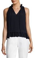 Rebecca Taylor Silk Sleeveless V-Neck Top