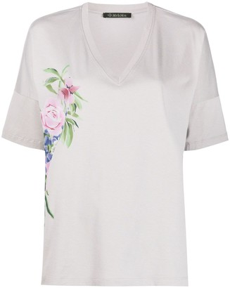 Mr & Mrs Italy floral v-neck T-shirt