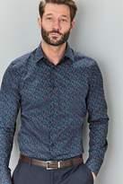 Mens Next Navy Signature Slim Fit Single Cuff Printed Shirt