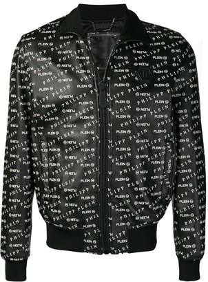 Philipp Plein Printed Leather Track Jacket