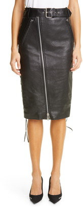 Balenciaga Lace-Up Leather & Stretch Jersey Skirt