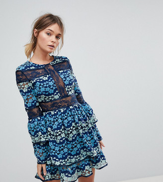 Dolly & Delicious Allover Embroidered Contrast Lace Skater Dress With Tiering