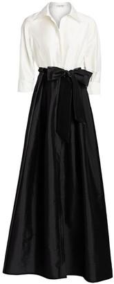 Teri Jon By Rickie Freeman Collared Taffeta Ball Gown