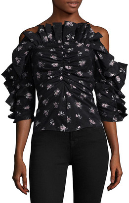 Rebecca Taylor Ruffle Silk-Lined Top