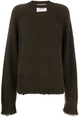 Nanushka Distressed-Edge Ribbed Sweater