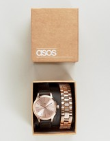 Asos Interchangeable Watch In Black And Rose Gold