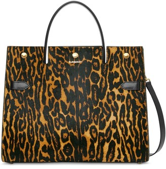 Burberry leopard print Title tote bag