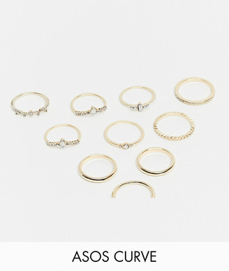 ASOS DESIGN Curve pack of 10 rings with opal stones in gold tone