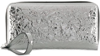 MM6 MAISON MARGIELA crinkled mirrored zip around wallet