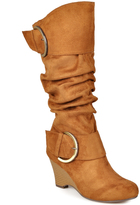 Journee Collection Chestnut Irene Wide-Calf Wedge Boot
