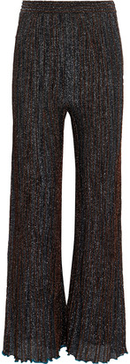 M Missoni Pleated Metallic Crochet-knit Flared Pants