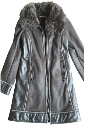 Emporio Armani Brown Leather Coat for Women