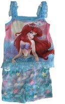 Disney Little Girls Little Mermaid Print Lace 2 Pc Sleep Set