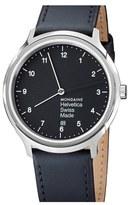 Mondaine 'Helvetica No.1 Regular' Round Leather Strap Watch, 40Mm