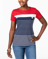 Karen Scott Petite Colorblocked Button-Trim Top, Created for Macy's