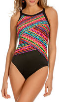 Miraclesuit Night Lights Colorblock Highneck One-Piece Swimsuit