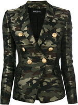 Balmain camouflage double breasted blazer - women - Cotton/Polyester/Acetate/Viscose - 42