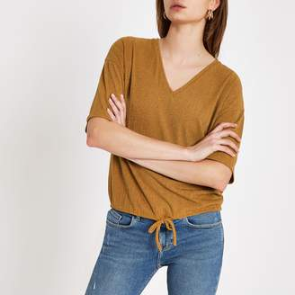 River Island Womens Yellow elastic tie waist loose fit top