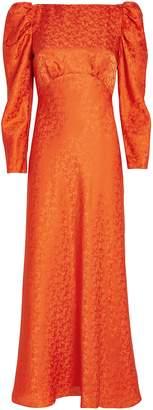 Saloni Alena Puff Sleeve Silk Jacquard Dress