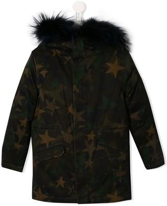 Yves Salomon Enfant Faux Fur Trim Hooded Coat