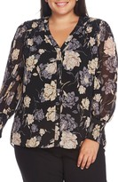 Vince Camuto Enchanted Floral Smock Cuff Blouse