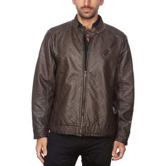 Men's Marqt Quilted Garment-Washed Faux-Leather Jacket
