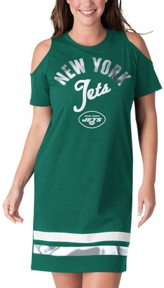 E.m. Women's G-III 4Her by Carl Banks Green New York Jets Go Get Tri-Blend Cold Shoulder Mini-Dress