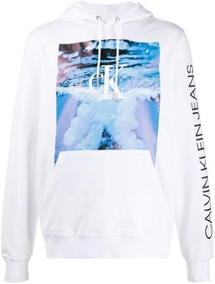 Calvin Klein Jeans Wave-print cotton hoodie