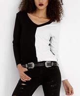 Angele Mode Women's Blouses Black-White - Black & White Color Block V-Neck Top - Women