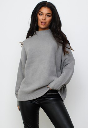 Missguided Grey High Neck Oversized Jumper
